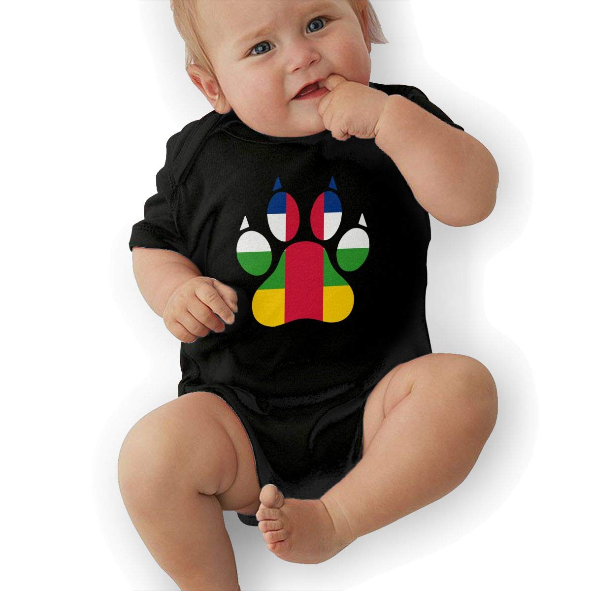 Short Sleeve Cotton Rompers for Unisex Baby Fashion Central African Republic Dog Paw Onesies