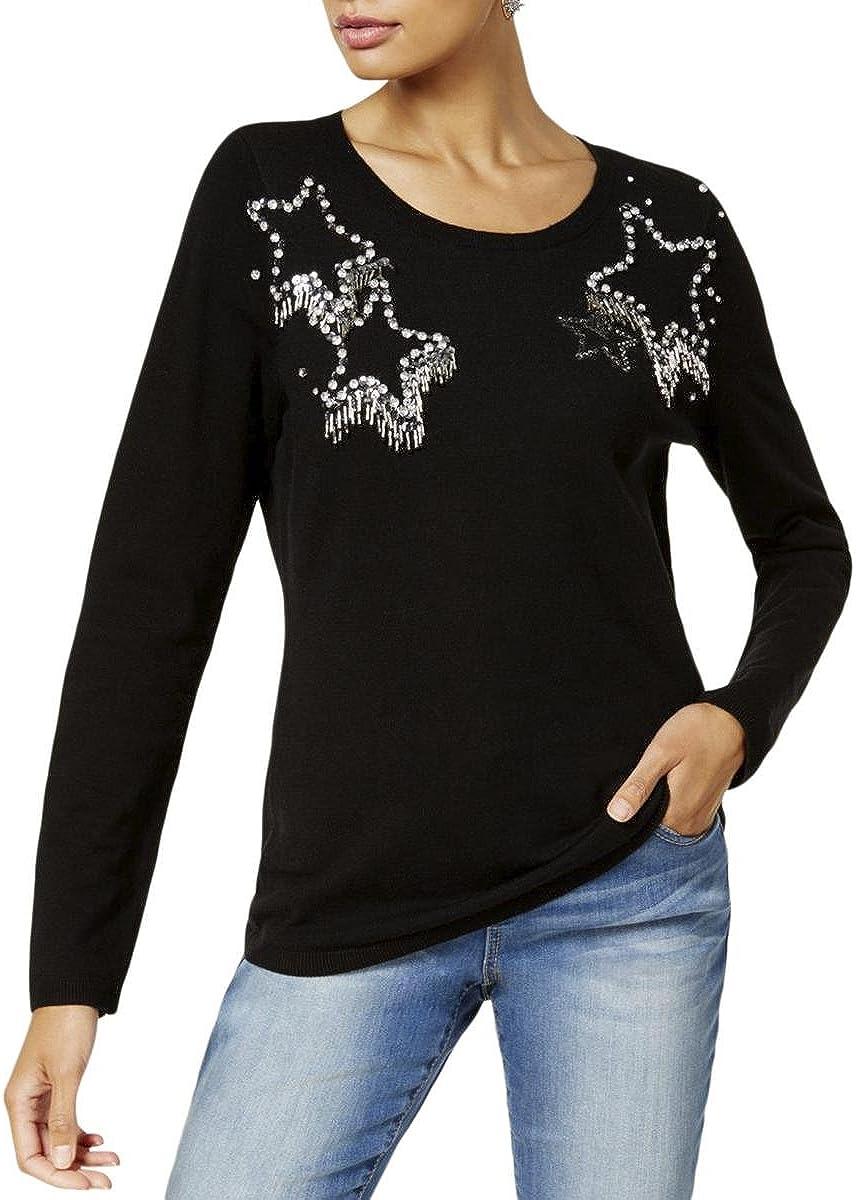 INC Womens Knit Embellished Crewneck Sweater