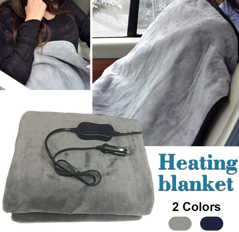 miniflower Electric Blanket Electric 12V Car Heated Blanket Large Size Electric Travel Heating Seat Blanket Thermal Blanket for Cold Winters Camping Road Trips 150x100cm RV