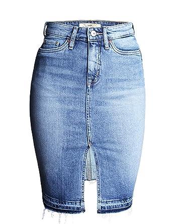 dd0152d86 IDEALSANXUN Womens High Waist Curvy Jeans Denim Pencil Short Skirts at Amazon  Women's Clothing store: