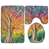 WUGOU Bathroom Rugs Country Sunset Set Of 3 Soft Shaggy Traditional Non Slip Shower Mat Toilet Floor Rug And U-shaped Lid Toilet Floor