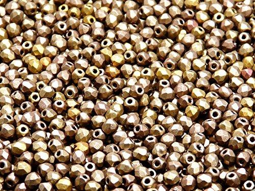 100 Pcs Czech Fire-Polished Faceted Glass Beads Round 3mm Silky Gold Iris Mat