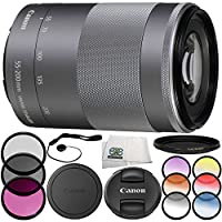 Canon EF-M 55-200mm f/4.5-6.3 IS STM Lens (Silver) Lens 8PC Accessory Bundle – Includes 3 Piece Filter Kit (UV + CPL + FLD) + 6PC Graduated Filter Set + MORE - International Version with No Warranty