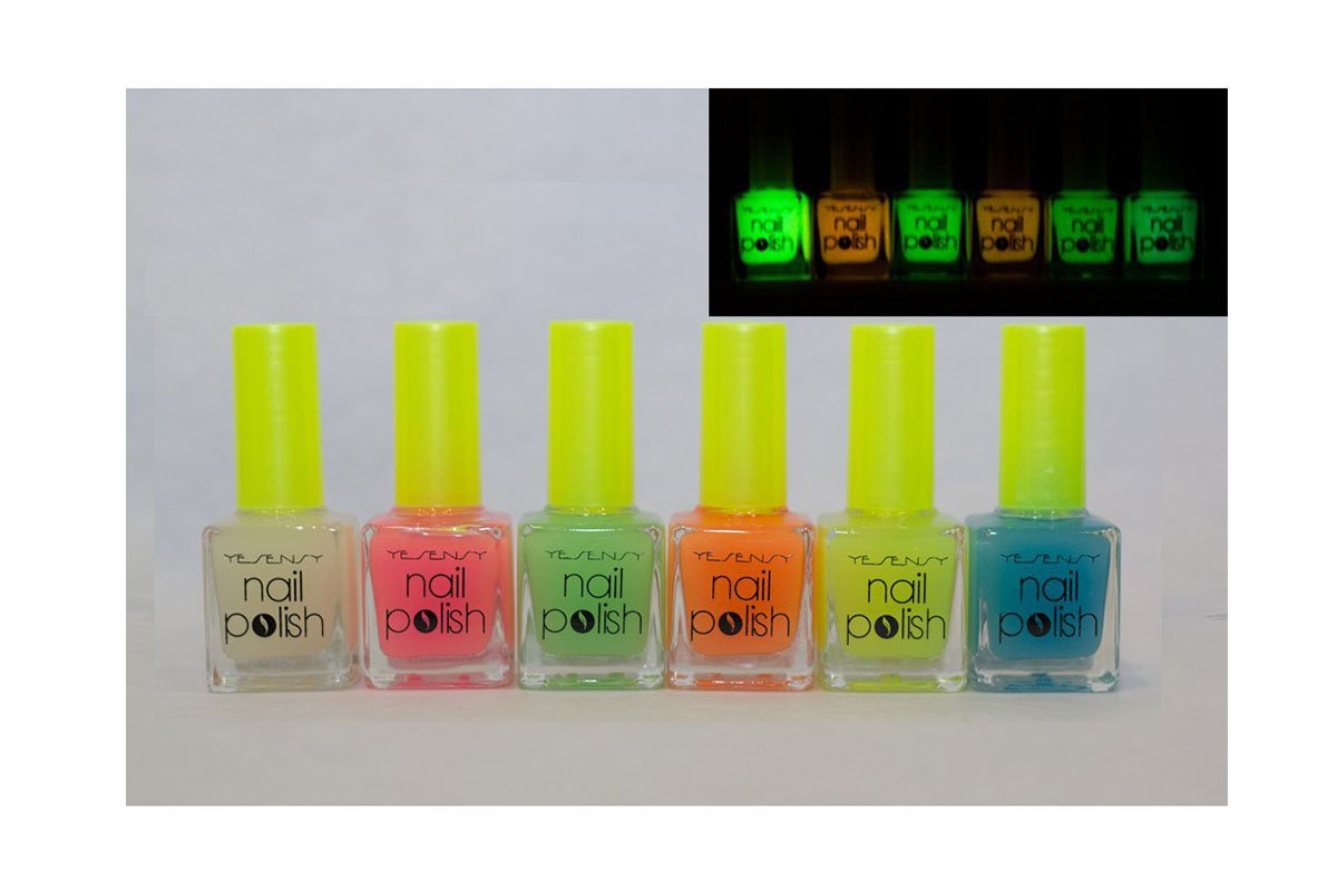 Lote DE 6, diseño DE pintauñas verde Glow in the dark-YSNY: Amazon ...