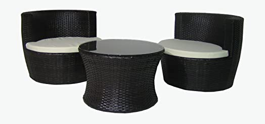 stacking pod rattan garden furniture table chair patio set - Garden Furniture Pod