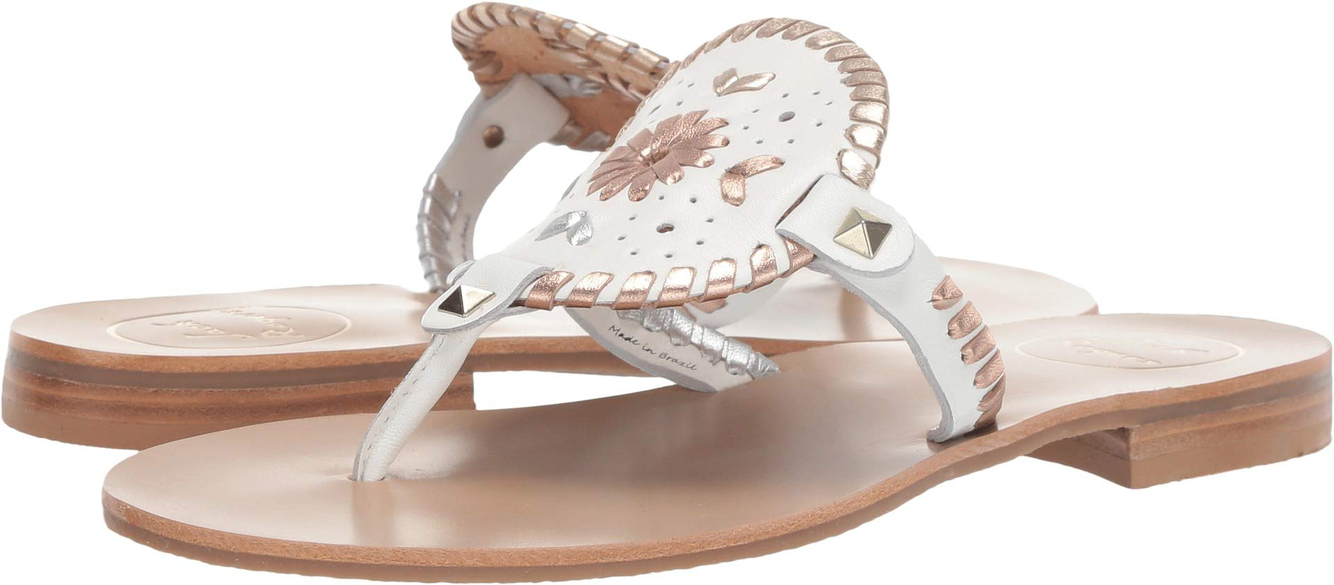 Jack Rogers Women's Georgica Sandal White Metallic 7 M US