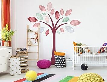 Wandtattoo Kinderzimmer Baum für Mädchen Wandsticker Pastell ...