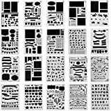 Ilyever 20 Pack Over 1000 Different Pattern Plastic Bullet Journal Stencil Lettering Stencil Drawing Painting Alphabet Number Craft Ruler Templates for Scrapbooking Card Craft Projects,4x7 Inch