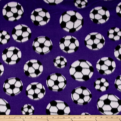 Fleece Soccer Ball Purple Fabric By The (Soccer Ball Fabric)