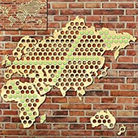Creative Wooden Crafts World Map Bottle Beer Cap Map Handmade Hanging Map of The World Modern Home Decor Beer Gifts