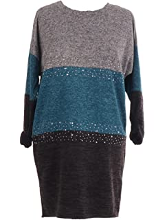 52a0c141943 LavishFashionTown New Italian Ladies Multicoloured Contrast Panel Top with  Diamante One Size Fits 14 16 18