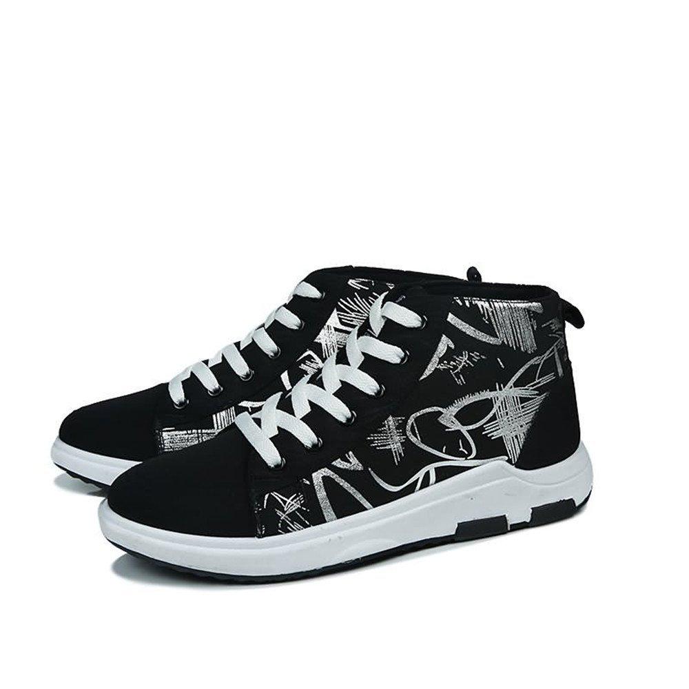 Jiuyue-scarpe, Estate Autunno 2018 Scarpe da ginnastica moda uomo sono sono sono casual e coloreate High Top Canvas è antiscivolo scarpe sportive (Colore   nero And bianca, Dimensione   44 EU) 58b900