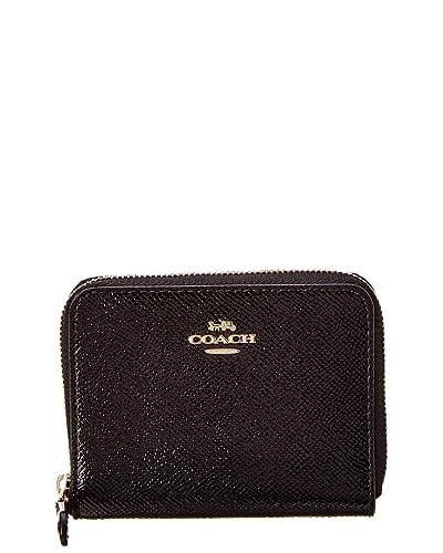 19231814ed24 Amazon.com  COACH Women s Small Zip Around in Crossgrain Patent Leather  Li Black One Size  Shoes