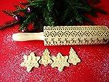 SCANDINAVIAN CHRISTMAS embossing rolling pin. Embossing rolling pin with Christmas tree, deer, heart. Gingerbread cookies.