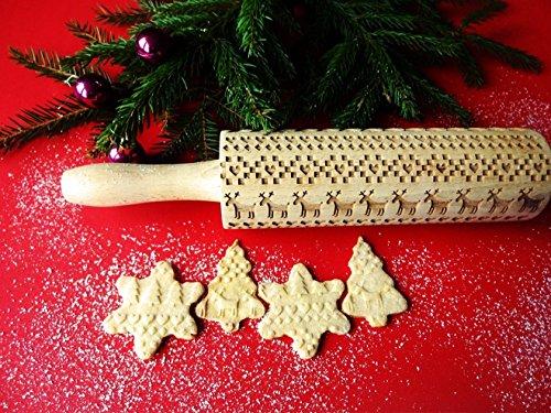 SCANDINAVIAN CHRISTMAS embossing rolling pin. Embossing rolling pin with Christmas tree, deer, heart. Gingerbread cookies. by Sun Crafts