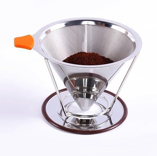YULAN - Filtro de café Doble de Acero Inoxidable Embudo de ...