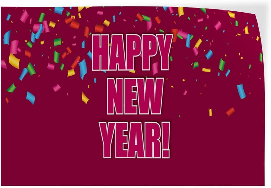 Decal Sticker Multiple Sizes Happy New Year #4 Lifestyle Confetti Outdoor Store Sign Pink 52inx34in Set of 2