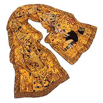 """TONY & CANDICE 100% Silk Luxurious Charmeuse Long Scarf Art Collection Shawl, 62"""" L*15.7"""" W (Adele Bloch-Bauer)"""
