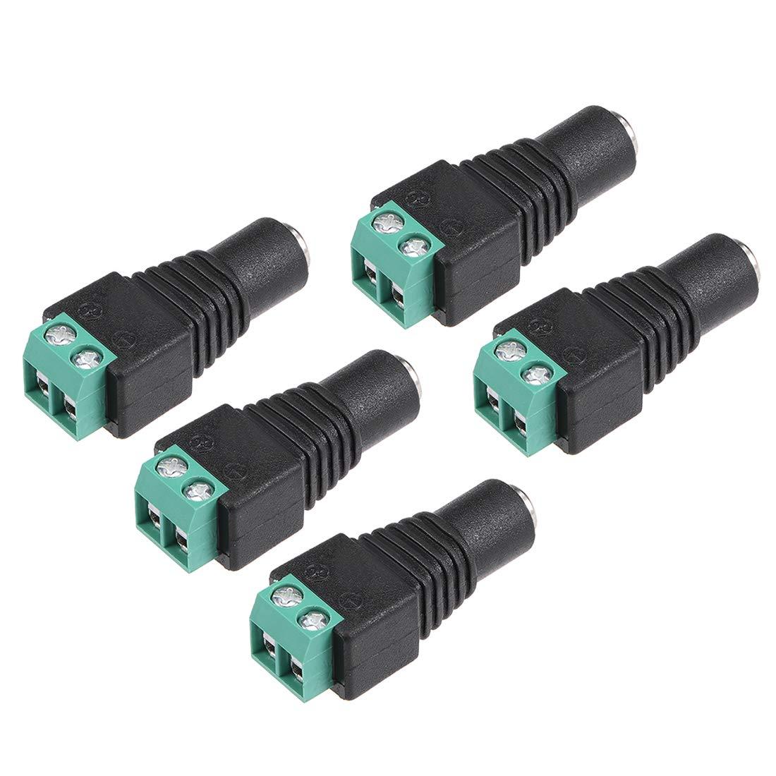 sourcing map DC Power Connector 5.5mm x 2.1mm 12V 24V Power Jack Socket for Led Strip CCTV Security Camera 5pcs