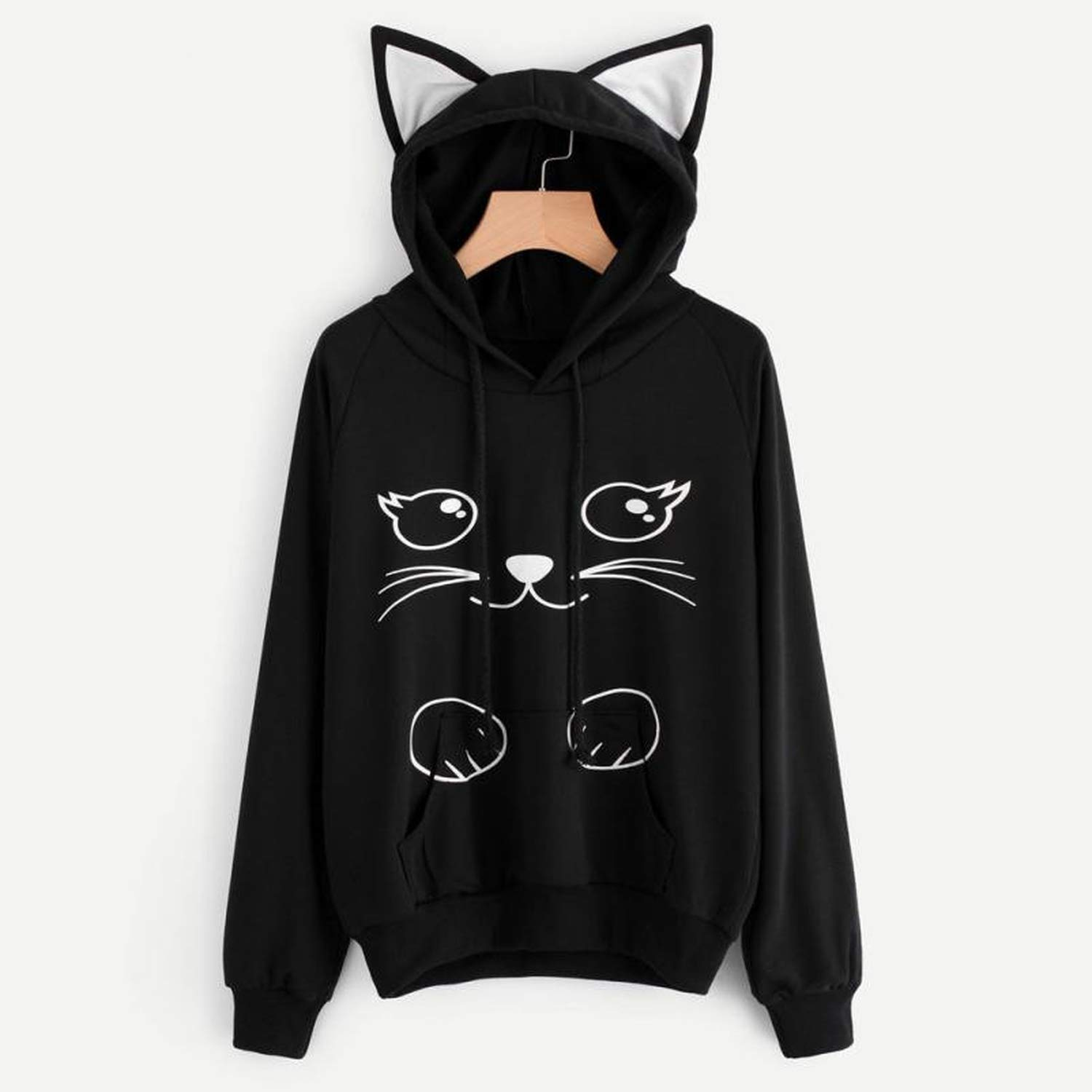 Hoodies Sweatshirt Womens Fashion Autumn Lovely Cat Printed Long Sleeve Sweatshirt Hooded Pullover Tops Sudadera Mujer, Black, L, United States at Amazon ...