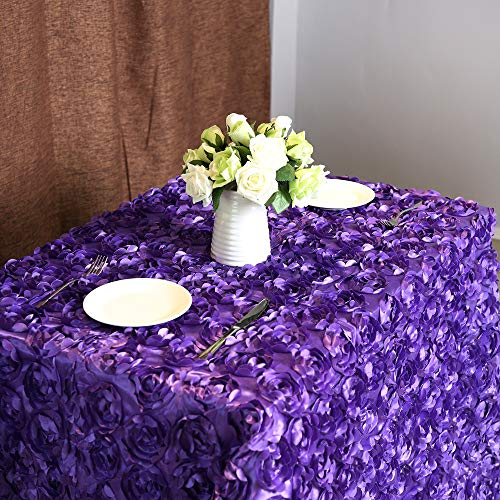 "Fanqisi Rosette Tablecloth 50""x102"" Purple,3D Floral Tablecloth Satin Rosette Tablecloths Table Cover Linens for Wedding/Party"