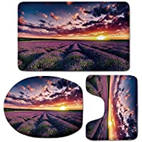 3 Piece Bath Mat Rug Set,Lavender,Bathroom Non-Slip Floor Mat,Blooming-Fields-in-Endless-Rows-Agriculture-Aromatherapy-Rural-Countryside-Image,Pedestal Rug + Lid Toilet Cover + Bath Mat,Multicolor