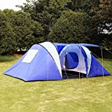 GHP Outdoor 6-8 Persons Blue Waterproof Camping Tunnel Tent w Bag