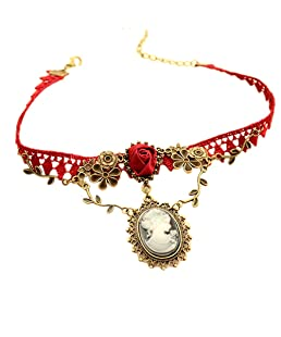 Hyuniture Pendant Necklace For Women Beauty Head Drops Chalcedony Red Sexy Lace Clavicle Rose Chain