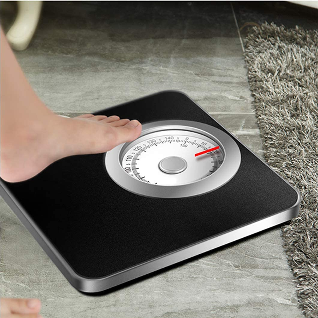 Mechanical Bathroom Scale,Cold rolled steel body Human Health Scale,Precision Rotating Dial Scale, Home/Yoga Room/Gym(Black/White) White