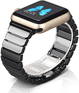 NotoCity Compatible Apple Watch Strap Series 6/5/4/3/SE 38mm/40mm Ceramics Replacement Band Compatible iwatch Series 6/5/4/3/SE Wristband Link Bracelet