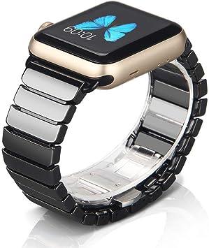 NotoCity Compatible Apple Watch 42mm/44mm de Correa Cerámica con Hebilla de Metal Mariposa para la Serie 4 3 2 1 (42mm/44mm, Negro): Amazon.es: Electrónica