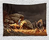 Ambesonne Western Tapestry, A Rock Mountain Landscape with a Cowboy Riding Horse North America Style, Wall Hanging for Bedroom Living Room Dorm, 60 W X 40 L inches, Earth Yellow Grey
