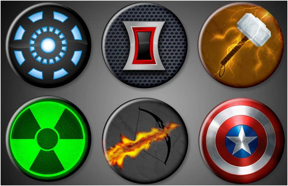 Amazon Com Avengers Symbols Magnets Large 1 75 Marvel Comics Superhero Captain Amercia Hulk Magnet Iron Man Black Widow Thor Hawkeye Magnet Kitchen Dining