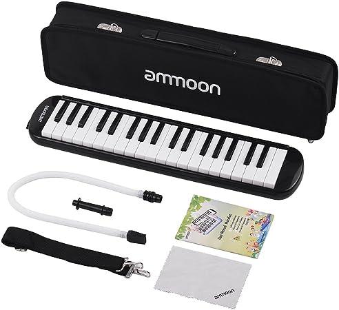ammoon Melodica 37 Teclas Melodica Pianica Estilo Piano Teclado Armónica Boca Organ con Boquilla Limpieza Ropa Carry Case para principiantes Niños ...