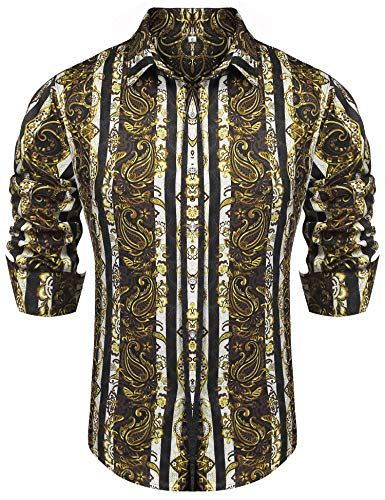 poriff Mens Fashion Retro Print Paisley Shirt Long Sleeve Western Style Casual Button Down Shirt Gold S - Mens Print Western Shirt