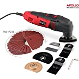 Apollo 220 Watt Oscillating Combo Multi Tool with Variable Speed Thumbwheel, Safety Switch & 37 Piece Mixed Accessory Kit Including Cutting Blades, Cutting Discs, Scraping Blade, Grinding Blade & Polishing Head and Sander Sheets