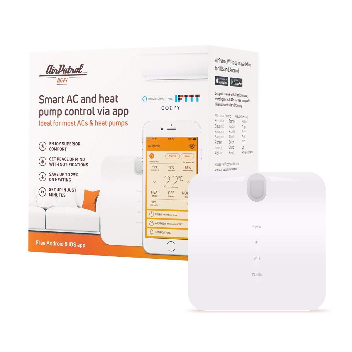 AirPatrol. WiFi inteligente, aire acondicionado controlador para Split AC y portátil ac. IOS/Android Compatible, UE versión, funciona con Amazon Alexa con ...