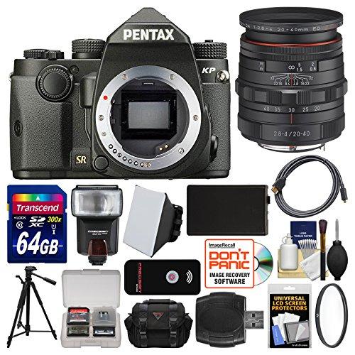 Pentax KP Wi-Fi Digital SLR Camera Body (Black) with 20-40mm Lens + 64GB Card + Case + Flash + Battery + Tripod + Filter + Remote + Kit