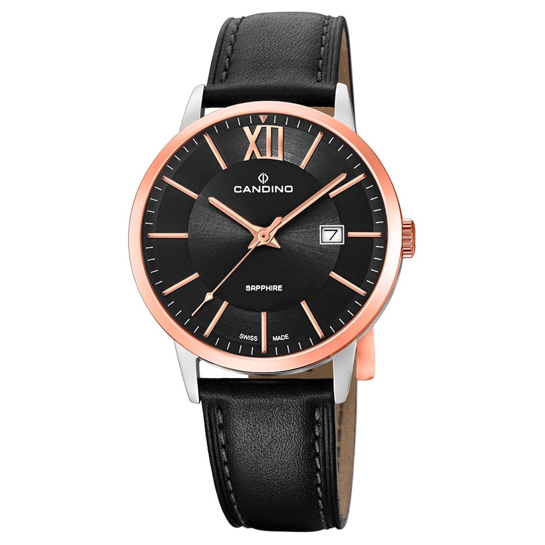 Candino Armbanduhr fÜr Herren Classic analog Elegant mit Leder-Armband schwarz Quarz-Uhr UC4620-1
