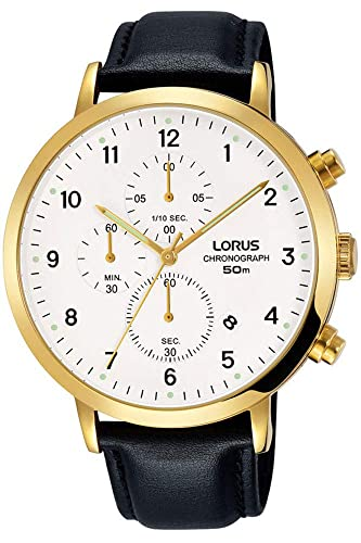 Lorus Mens Chronograph Quartz Watch With Leather Strap Rm314ex9