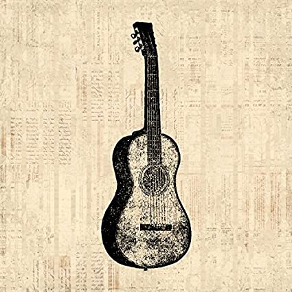 Amazon.com: Vintage Guitar Print for Wall Art and Home Decoration ...