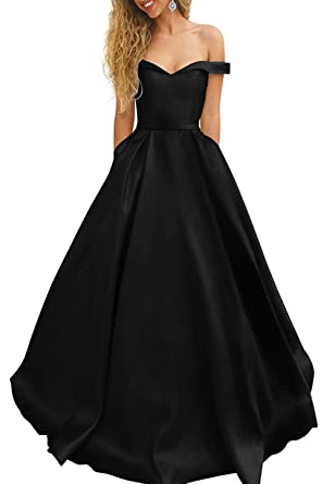 TbDesses Womens Black Off Shoulder Satin Prom Dresses Evening Ball Gowns Plus Size