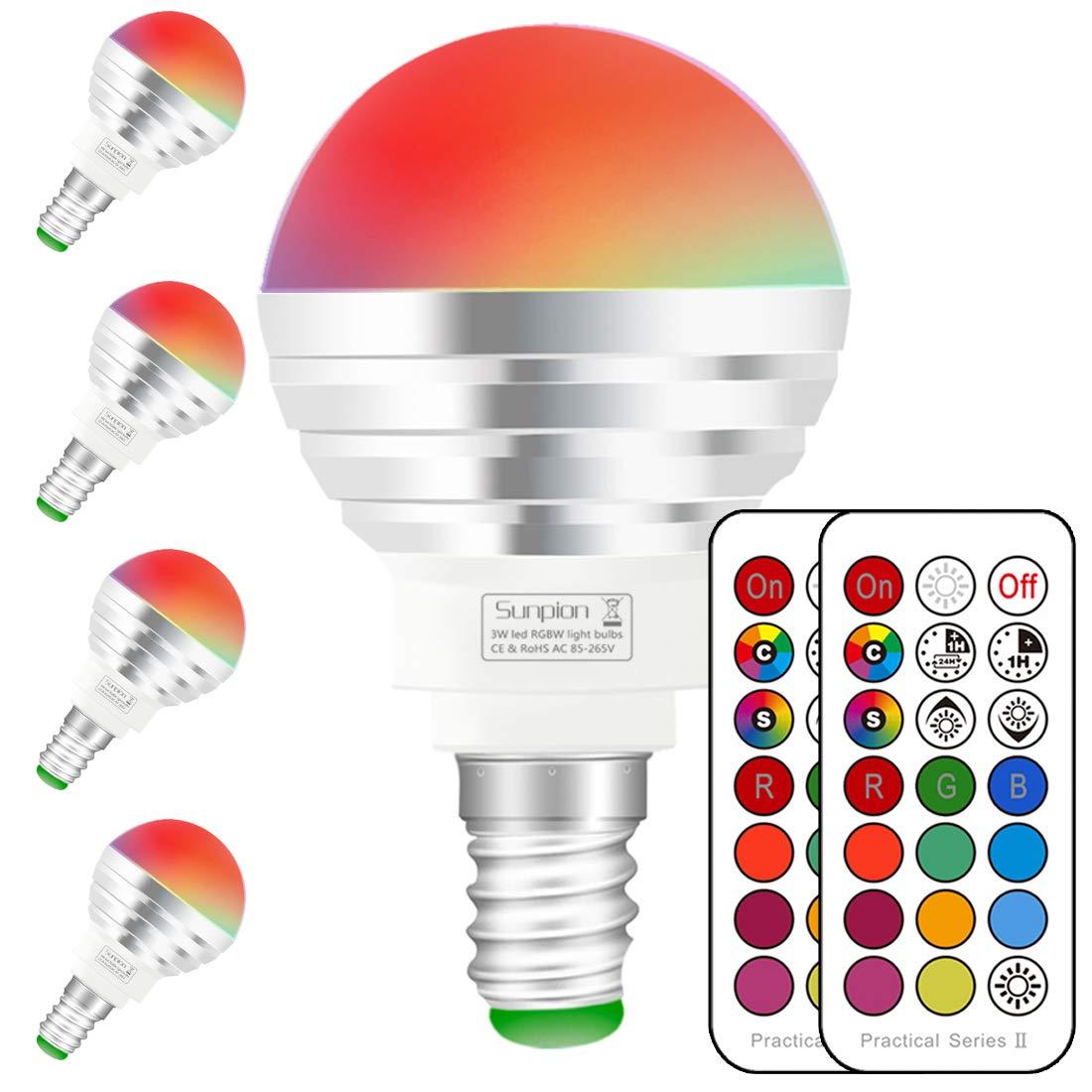 Bombilla Colores E14, Bombilla RGBW con mando a distancia,3W Equivalente a 30W Haló gena, blanco diurno 6000K, casquillo E14,bombilla colores regulable,RGB 12 Color,Paquete de 4 Unidades 3W Equivalente a 30W Halógena Sunpion