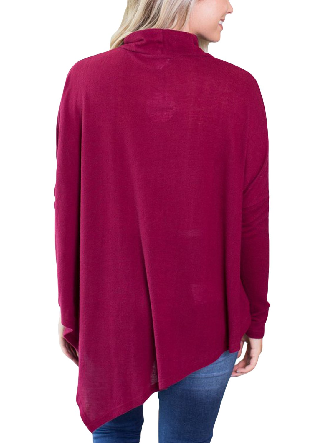 FARYSAYS Women's Casual Long Sleeve Turtleneck Loose Fit Handkerchief Hem Tunic Tops Red Large