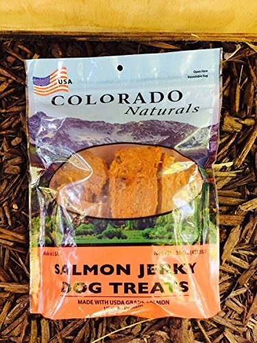 Colorado Naturals Wild Caught Salmon Jerky Dog Treats. Made in USA with 100 Percent U.S.D.A. Grade Salmon. 16 Ounce