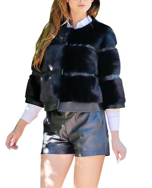Donna Cappotto Inverno Elegante Pelliccia Sintetica Vintage Classico Manica  Lunga Single Breasted Larghi Corto Caldo Giacca Giubbino Cappotti Outwear  Nero  ... 7f544c10079