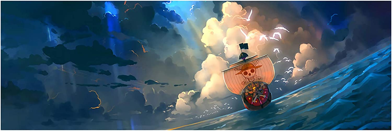 Anime One Piece Poster Thousand Sunny Print on Canvas The Straw Hat Pirates Wall Picture for Living Room Decor Wall Art (Unframed, 16x48inch)
