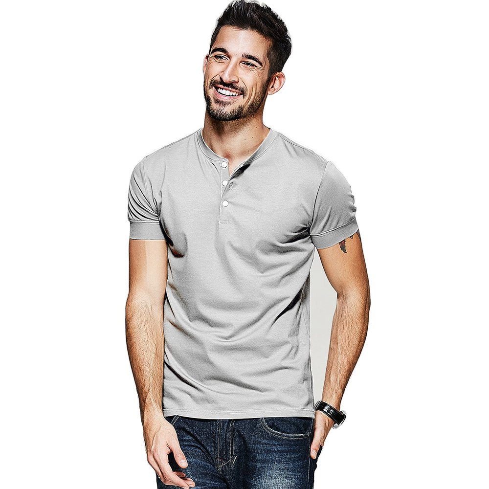 Men Casual T Shirt V Neck Short Sleeve Cotton Button Stylish Loose Slim Fit Sport Workout Outdoor Wear Gym Beach Party Hiking Travel Business Working Weekend Henley Shirts High Elasticity (L, Grey)