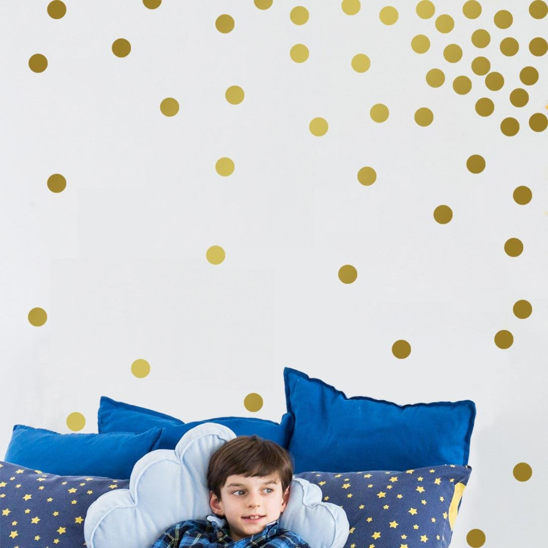 Gold Wall Decal Dots, BBire Gold Wall Decal Dots 200 Decals Round Sticker Large Paper Sheet Set for Nursery Room