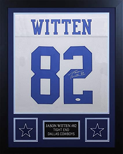 7e5f57e88f3 Jason Witten Autographed White Cowboys Jersey - Beautifully Matted and  Framed - Hand Signed By Jason